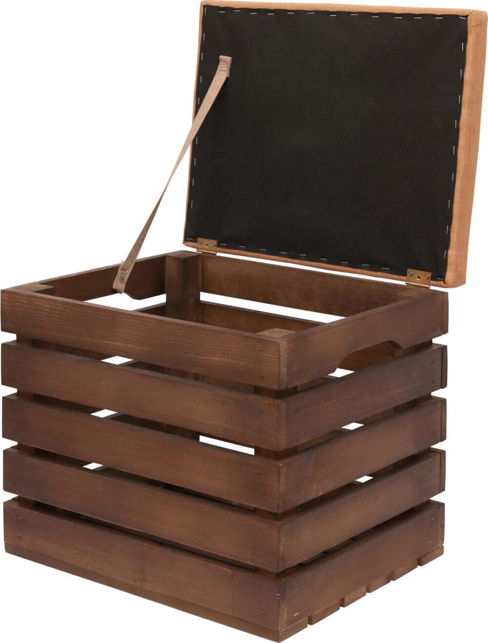 bejcowana ciemna skrzynia drewniana z polski