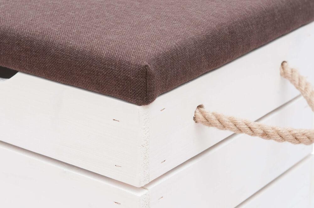 Skrzynia tapicerowana biała z liną jutową