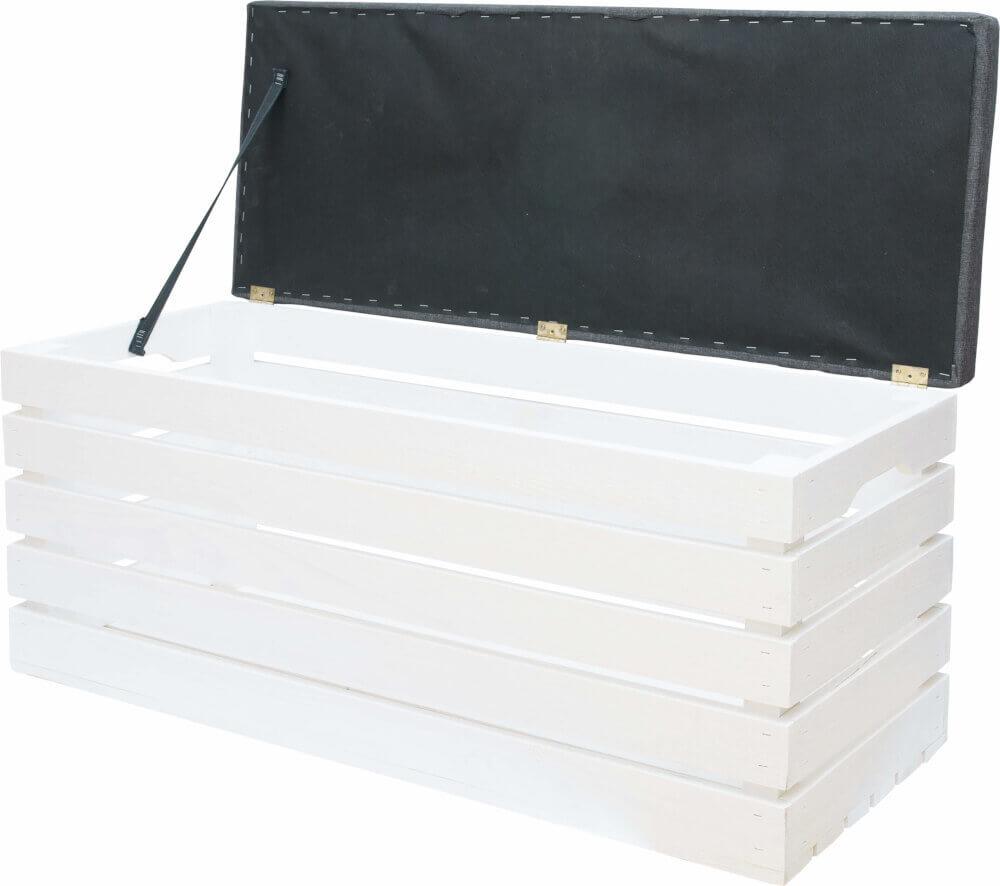 skrzynka drewniana zamykana - tapicerowana w kolorze białym