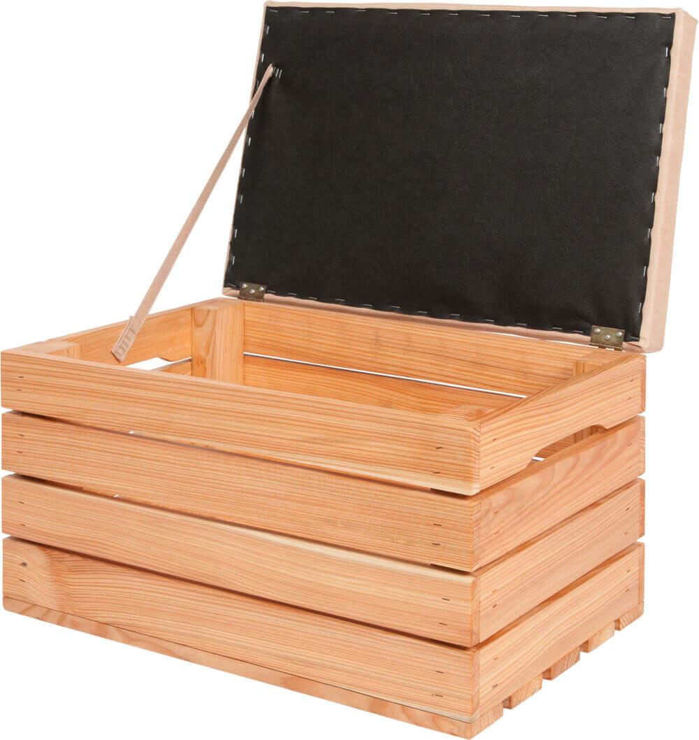 otwierana skrzynka drewniana tapicerowana