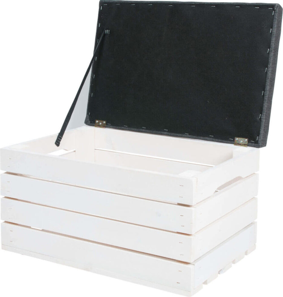 biała otwierana skrzynka tapicerowana