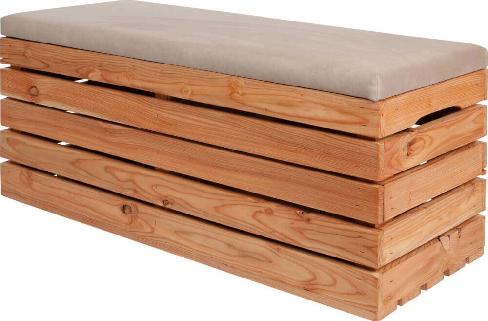 skrzynka drewniana tapicerowana jasny modrzew
