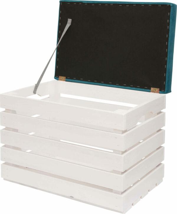 otwierana skrzynka tapicerowana biała